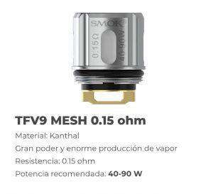 resistencia tfv9 mesh 0.15 ohm, descripcion